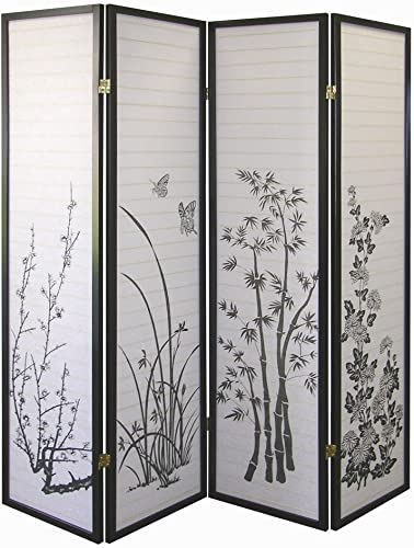 4-panel Bamboo Floral Room Divider Screen