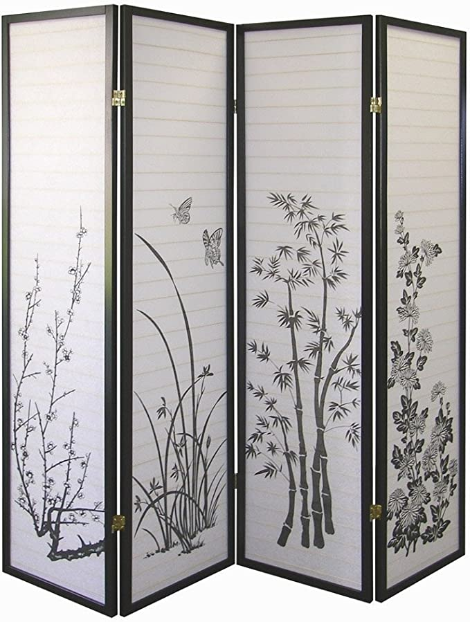 6-Panel Screen Flowers Bamboo Room Divider Folding Partition Home Decor Hot Sale