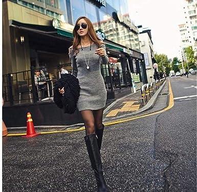 Vestido de Otoño Invierno Mujer, ZODOF Mujeres Casual Manga Larga suéteres Jersey Chaqueta Cuello Redondo de Punto Prendas de Punto Mini Vestido Corto Fuera ...
