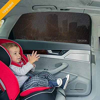 Lecone Upgraded Car Window Shade, 2nd Generation Reusable Perforated Static Cling Tint Film, Electrostatic Self-Adhesive Sun Blocker Screen for Vehicle, Protect Your Baby Kid & Keep Cool(Pack of 4): Automotive