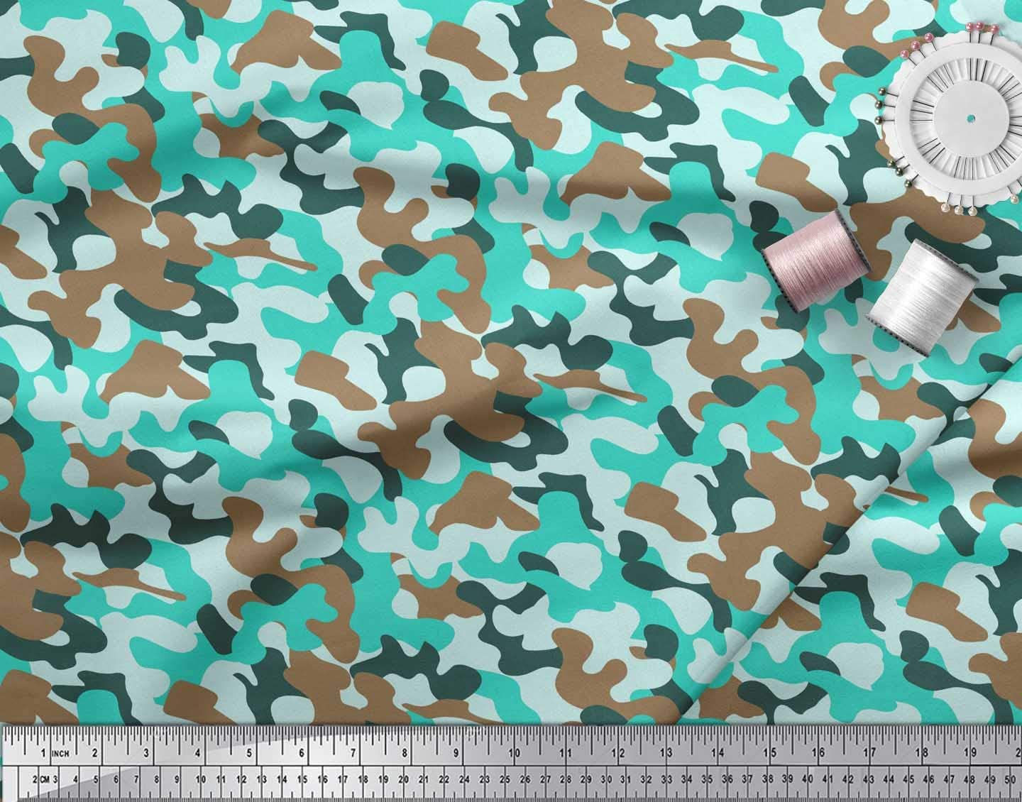 Soimoi Orange Cotton Cambric Fabric Two Tone Camouflage Print Sewing Fabric BTY 42 Inch Wide