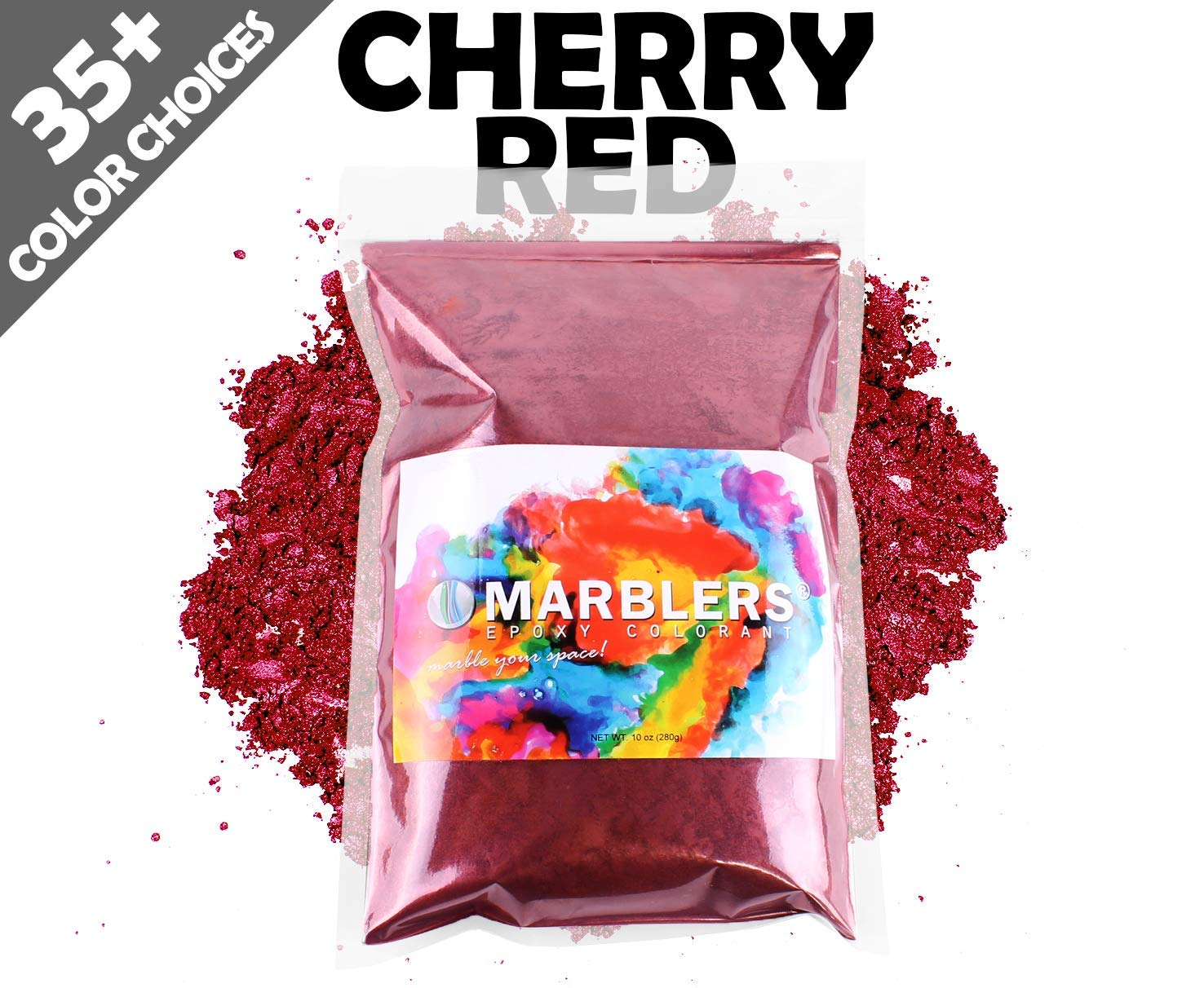 Marblers Powder Colorant 10oz (283g) [Cherry Red] | Pearlescent Pigment | Tint | Pure Mica Powder for Resin | Dye | Non-Toxic | Great for Paint, Concrete, Epoxy, Soap, Nail Polish, Cosmetics