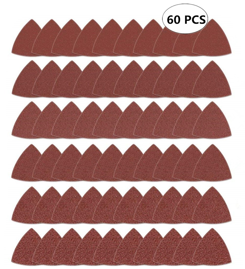 60pcs Triangular Hook & Loop Triangle Sandpaper, Fit 3-1/8 Inch Oscillating Multi Tool Sanding Pad, Assorted 40 60 80 100 120 240 Grits