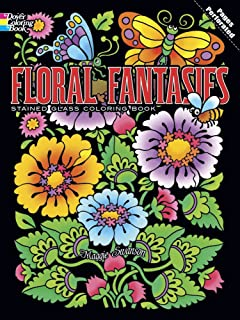 floral fantasies stained glass coloring book dover stained glass coloring book - Stained Glass Coloring Books