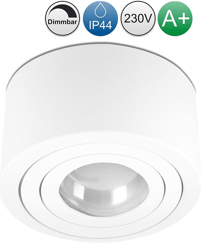 230V 5W Spots dimmbar Aufbaustrahler IP44 in weiss Wasserschutz f/ür Bad /& Au/ßen lambado/® Flache LED Aufbauleuchte f/ür Feuchtraum//Deckenstrahler inkl