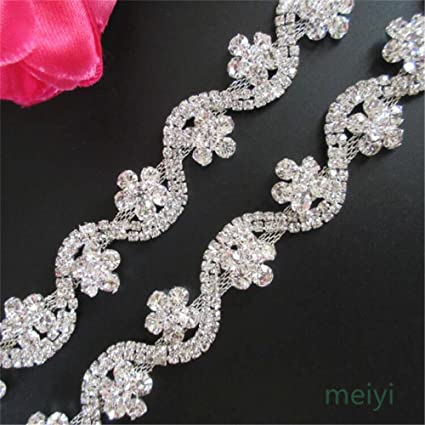 Bling Rhinestone Diamante Applique Crystal Trimming DIY for Bridal Sash belt