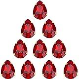 Choupee Sew On Rhinestone Tear Drop Crystal Rhinestones in Gold Setting 48 Pcs (Red, 13 X 18 MM)