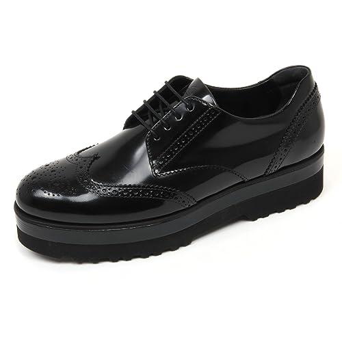 C8086 scarpa inglese donna HOGAN H308 route doppia micro derby nero shoe woman
