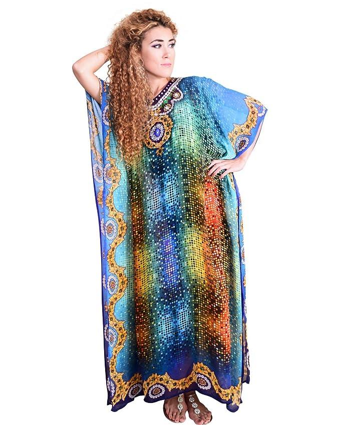 Bayside Barcelona Azul Traje de Fiesta de Las Mujeres Vestido de Impresión Digital Kimono Kaftan Traje de Baño Largo: Amazon.es: Electrónica
