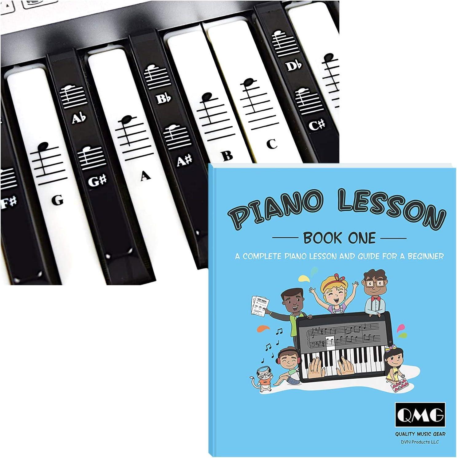 Pegatinas para piano y teclado y libro completo de lecciones de música de piano y guía para niños y principiantes. Diseñado e impreso en Estados ...