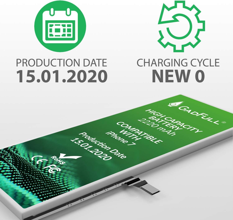 GadFull Akku kompatible mit iPhone 7 mit Hoher Kapazit/ät ohne Ladezyklen 2020 Baujahr Reparaturset Anleitung /& Profi-Kit Werkzeugsatz Funktioniert mit Allen original APN inkl