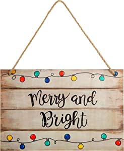 Merry and Bright Wood Wall Sign Christmas Decoration Hanging 12 x 6 Inch Hanging Wall Art Sign Wood Christmas Sign for Home Door Decoration