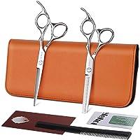 Tijeras de peluquería profesional Kit de peluquería para el cabello Tijeras para adelgazar y cortar con suavidad Acero…