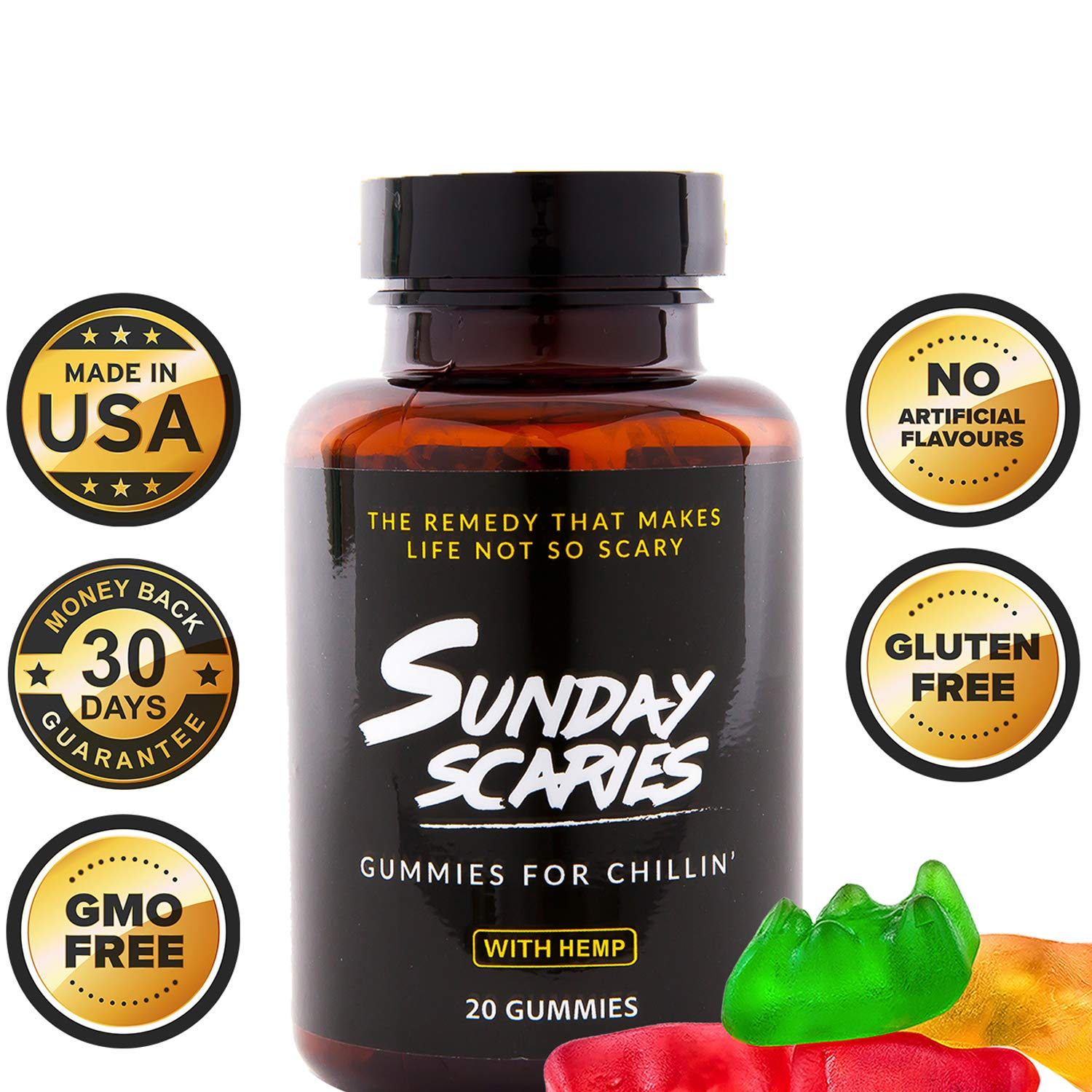 Sunday Scaries Hemp Extract Gummies w/Vitamins for That Cool, Calm & Collected Feeling – 10MG Each