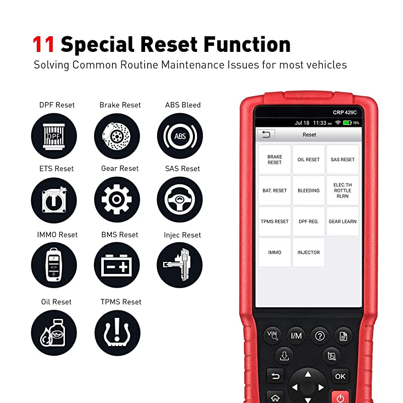 Launch CRP429C is one of the best professional diagnostic tool that offers 11 special functions.