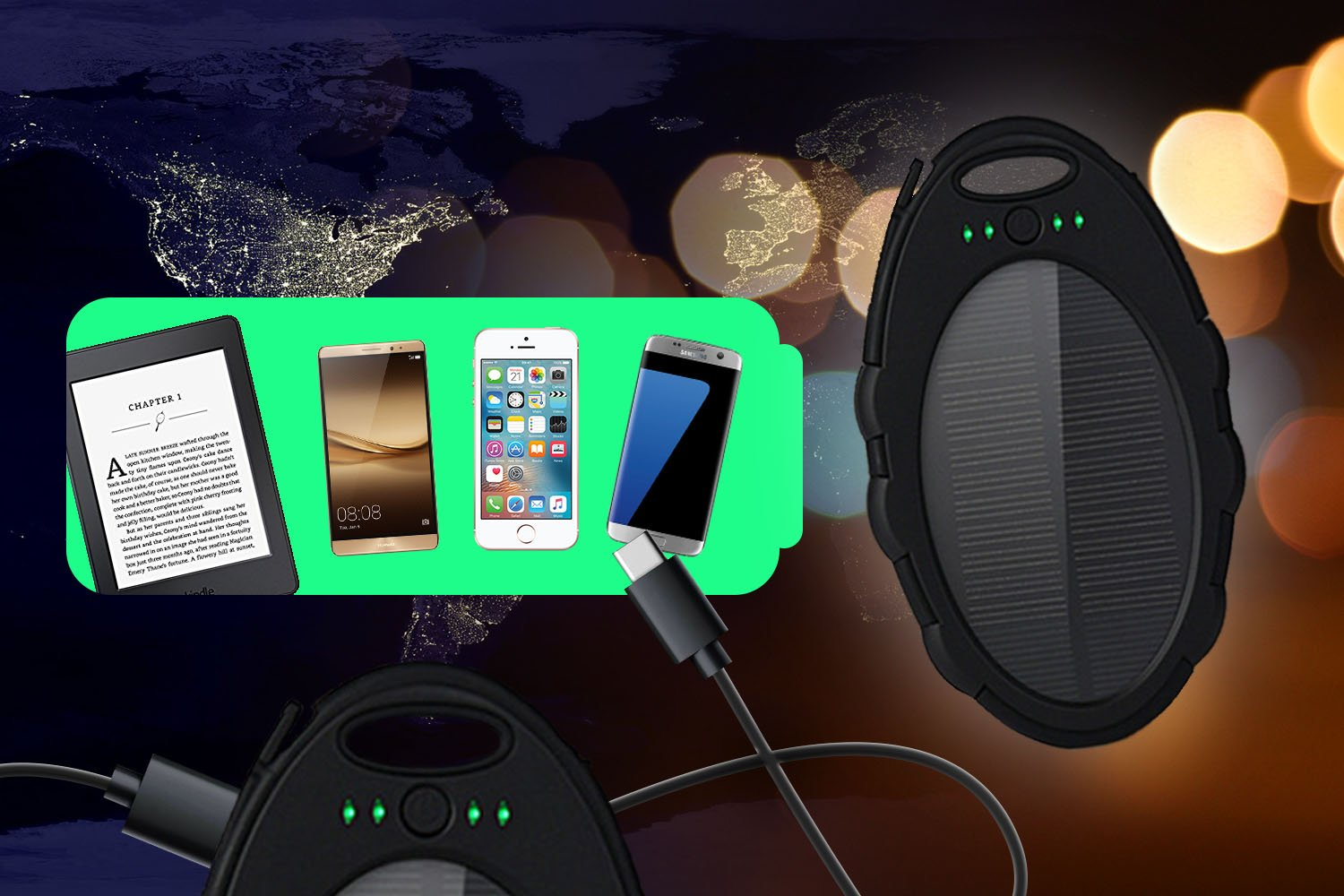 5,000mAh Portable Solar Power Bank Charger, Battery Pack, 2 USB Port +Flash Light +Charger Cable Water Resistant, Led indicator External Battery Backup, For all Cell phones, Smart Phone Tablet, Laptop
