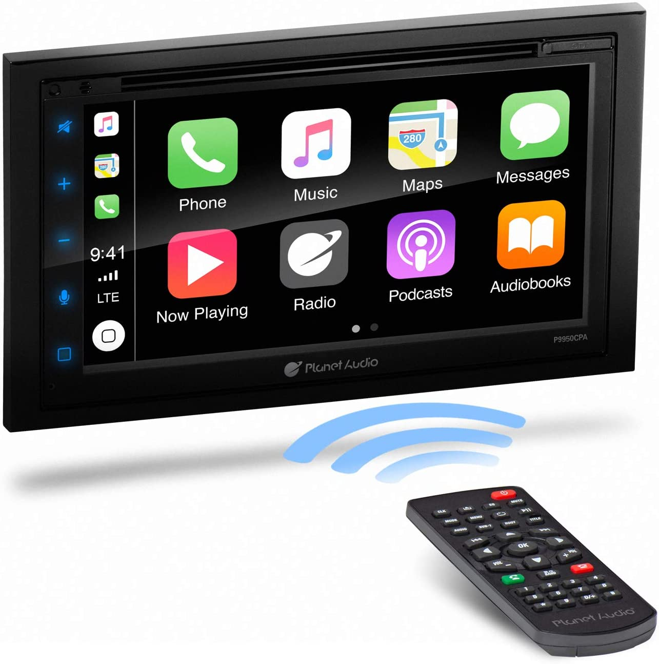 No CD DVD Multicolor Illumination Single Din Chassis with 9 Inch Capacitive Touchscreen Bluetooth A-Link Screen Mirroring USB Planet Audio P90CPA Apple CarPlay Android Auto Car Receiver
