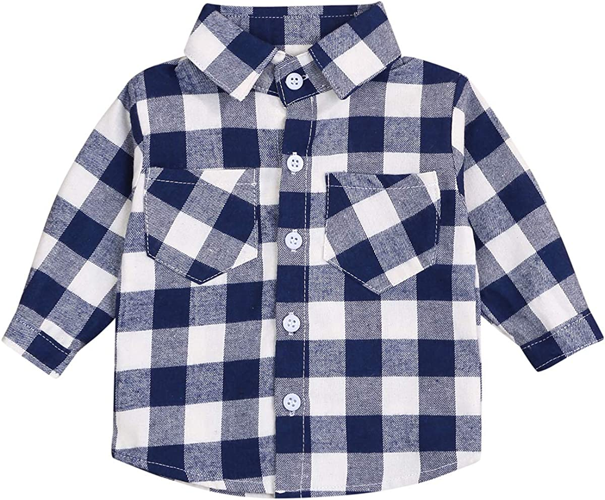 Kids Little Boys Girls Baby Long Sleeve Button Down Red Plaid Cotton Shirt Plaid Girl Boy NB-3T