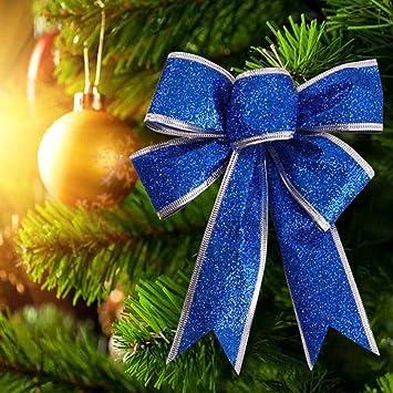 Schleifen Weihnachtsbaum.2x Groß Weihnachten Schleifen Weihnachtsbaum Anhänger Fenster Deko Ziehschleifen Autoschleifen Hochzeit Dekoration Blau