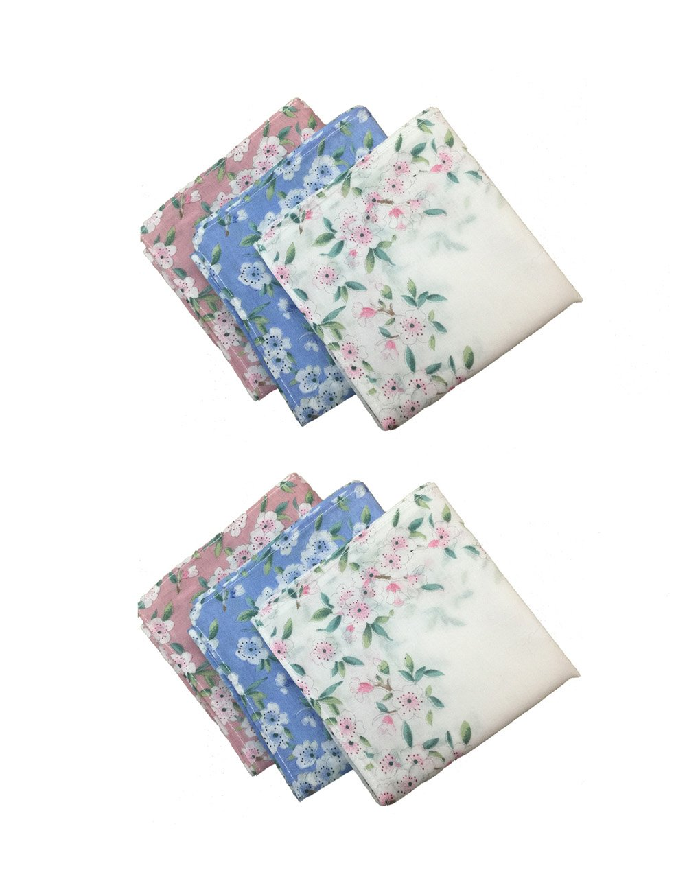 Aiklin Women 100% Cotton Handkerchiefs Flower Printed Large Wedding Fabric Hankies (3PCS)