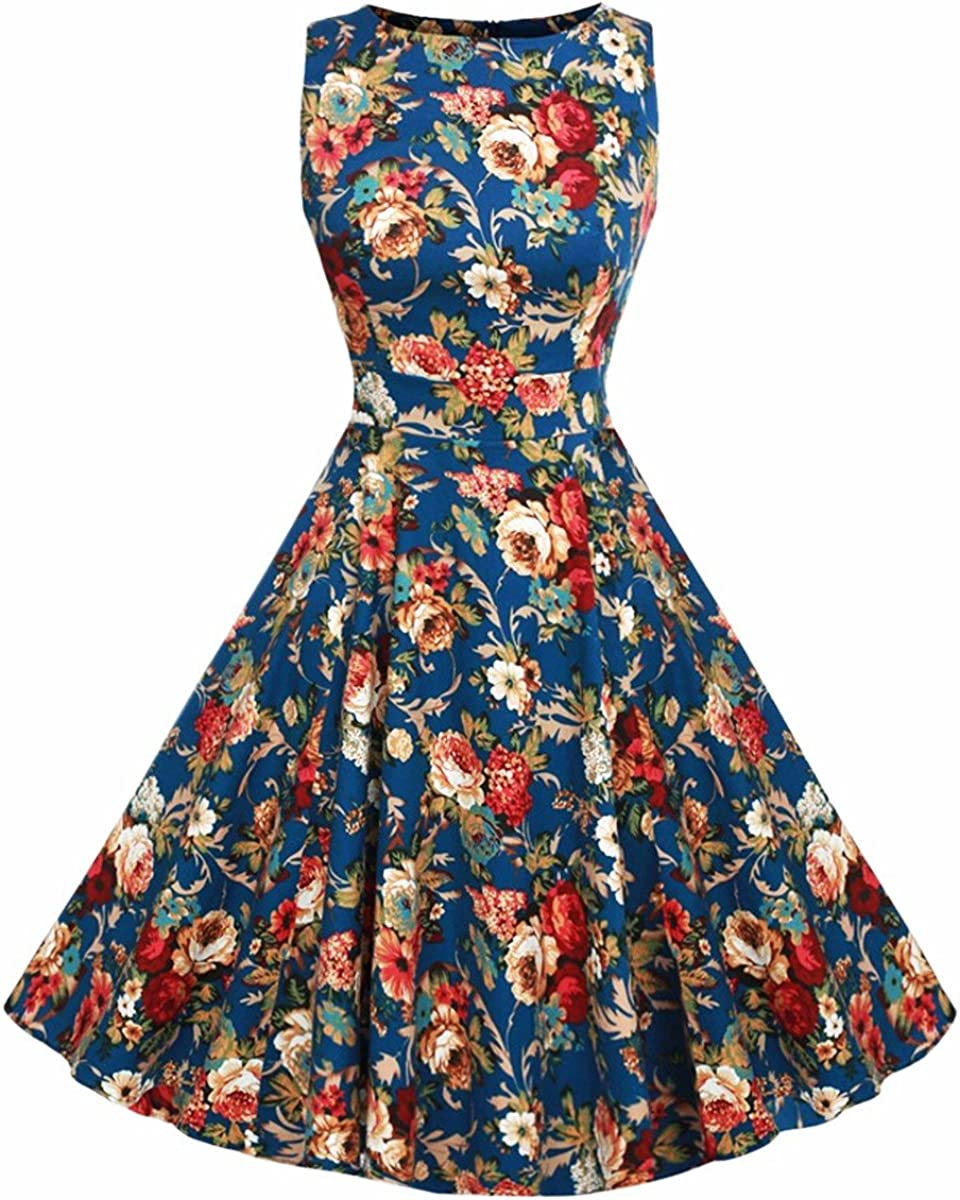Samtree Women's 1950s Hepburn Style Vintage Floral Garden Cocktail Party Swing Dress