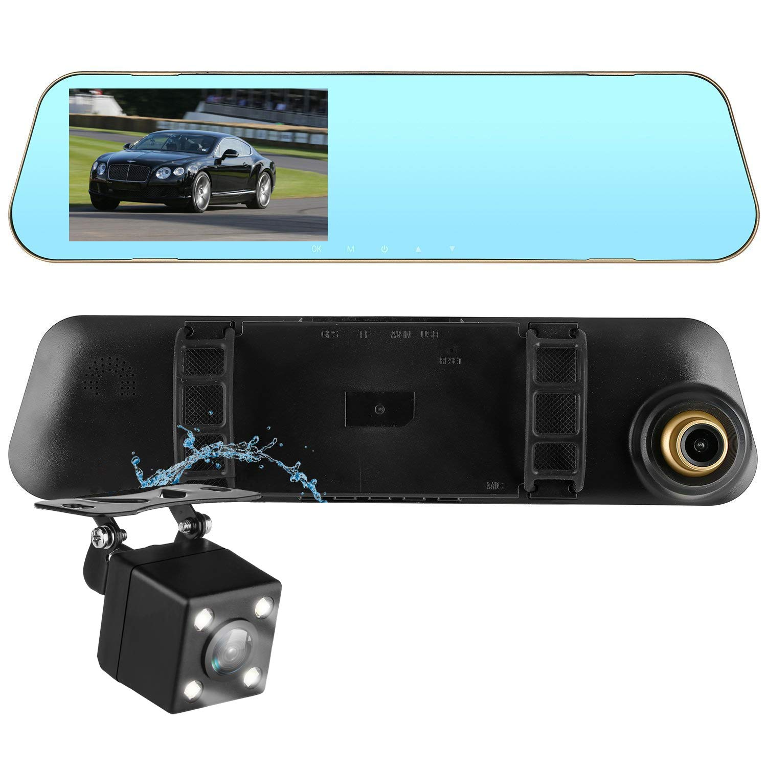 DohonesBest Dash Cam Dual Lens Rear View Mirror Car Backup Camera Front and Rear 1080P Full HD Video Recorder, Car DVR with G-Sensor Motion Detection Loop Recording Parking Mode 4.3''140° Wide View