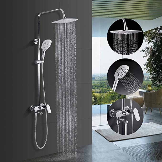 Bonade shower panel shower system made of 304 stainless steel shower set with LED shower head, hand shower, massage nozzles, rain shower set, shower system, surface mounted shower for bath tub: Amazon.de: Baumarkt