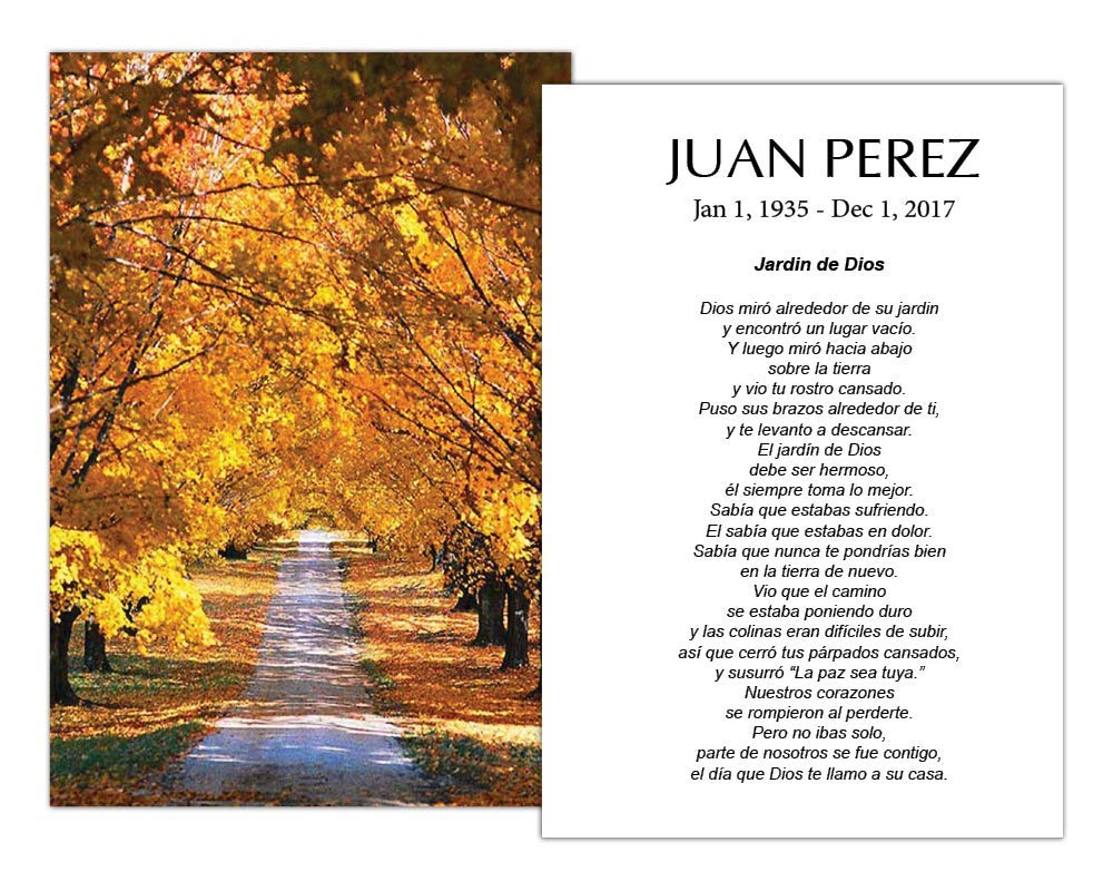Amazon.com : Targetas Funerales De Recordatorio (50 Cards) FPC1002ES Camino de otoño (Seleccione oracion deseada) : Office Products