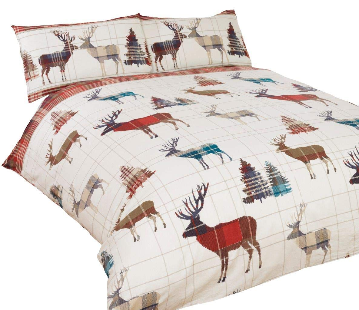 STAG TREE PLAID CHECK RED CREAM CANADIAN QUEEN SIZE (230CM X 220CM - UK KING SIZE) COTTON BLEND REVERSIBLE DUVET COMFORTER COVER Duvet Cover