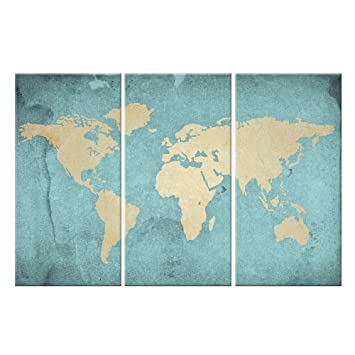 Amazon world map canvas art vintage style map poster printed world map canvas artvintage style map poster printed on canvas with frame ready gumiabroncs Image collections