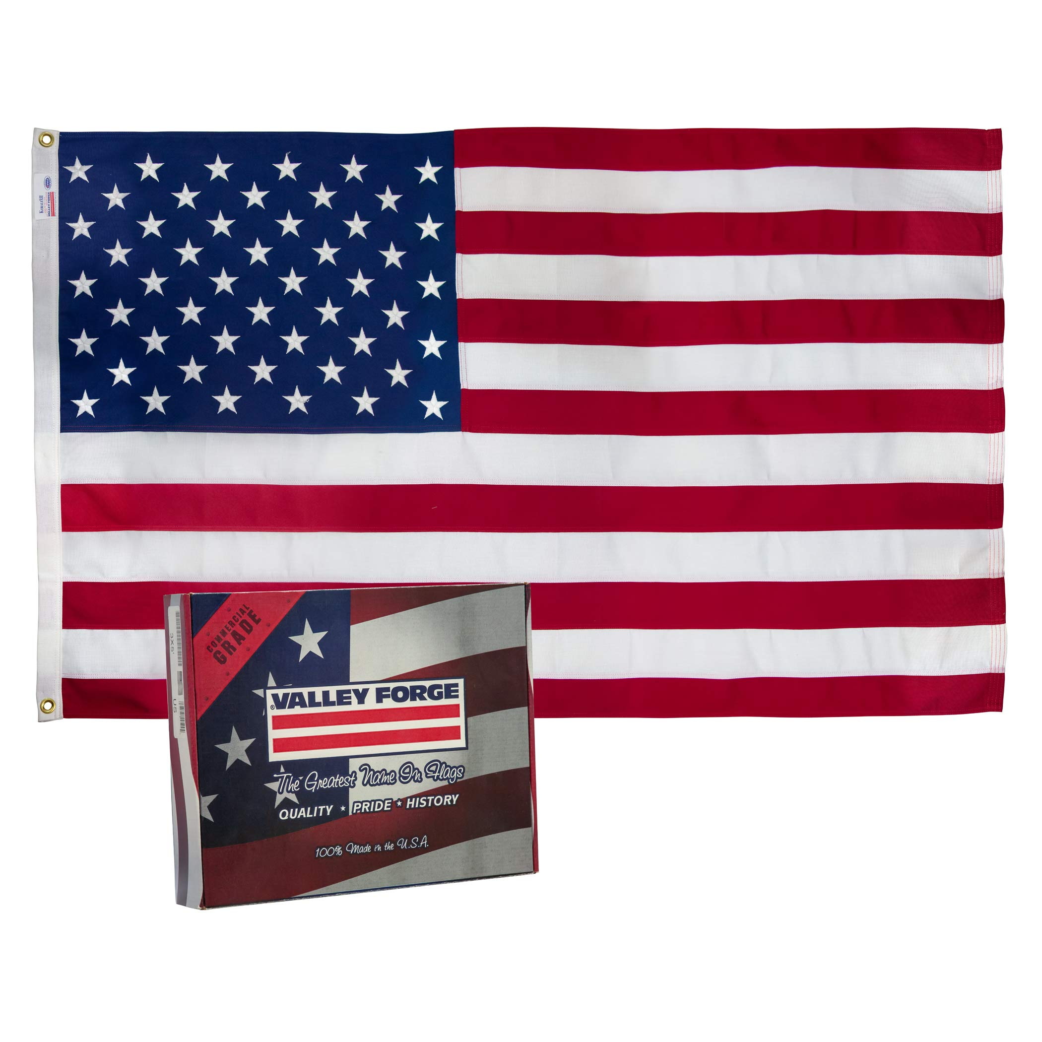 Valley Forge, American Flag, Spun Polyester 2-Ply, 3'x5', 100% Made in USA, Heavy-Duty Brass Grommets by Valley Forge