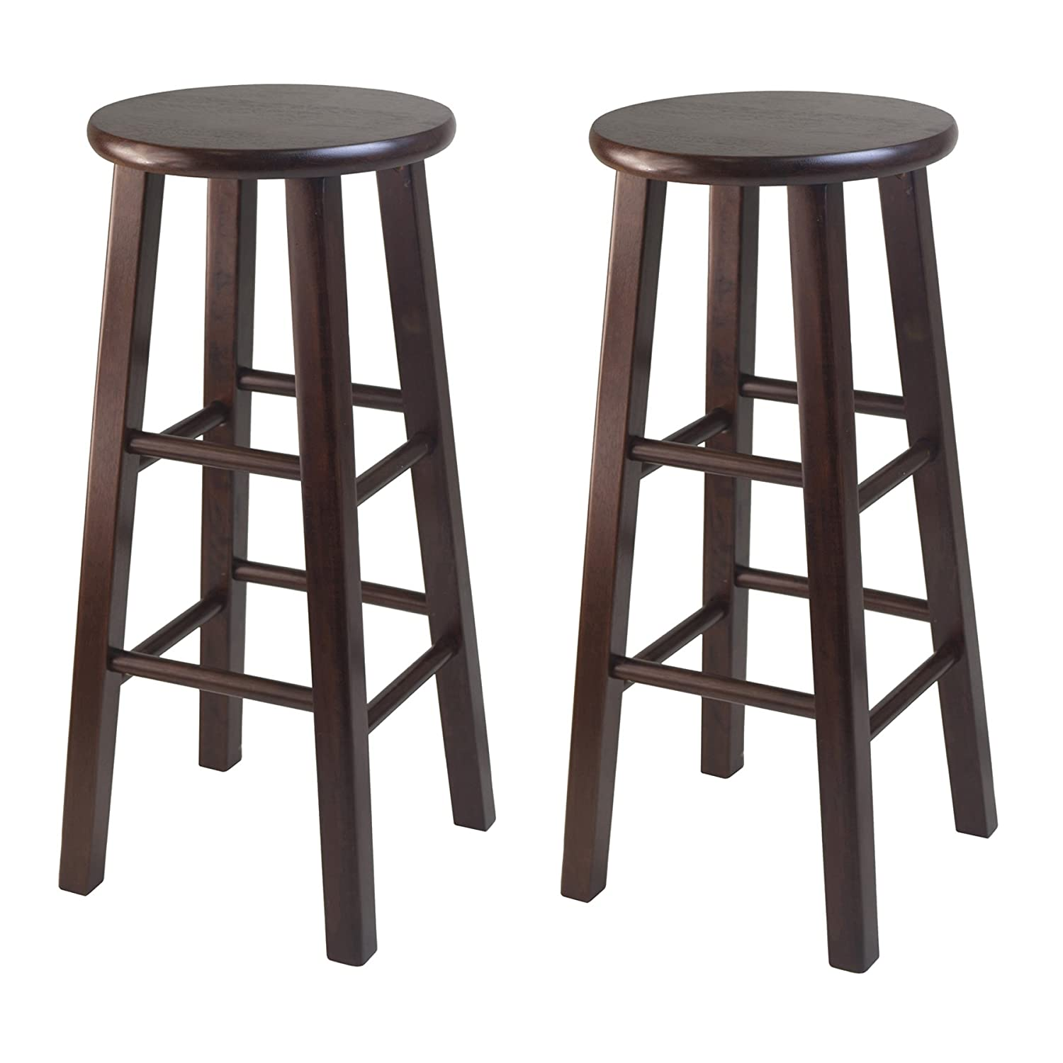Amazon.com: Winsome 29 Inch Square Leg Bar Stool, Black, Set Of 2: Kitchen  U0026 Dining