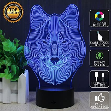 Wolf Light, YKL WORLD 3D Wolves Table Lamp, 3D Led Optical Illusion Night  Lights