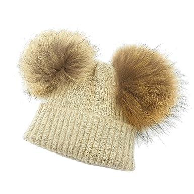 CCZZ Fille Garcon Hiver Pompom Boule Bonnet tricoté Chaud Laine chapeau  Pompon Detachable en Fourrure Raccoon  Amazon.fr  Vêtements et accessoires 26ce9cdbc91