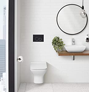 Swiss Madison Well Made Forever SM-WT455 Carré Wall Hung Toilet, Glossy White