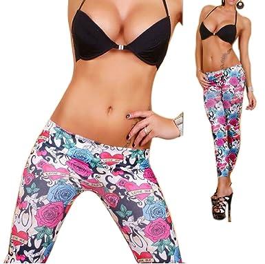 9995d98bc97d9 KOOLEE Ankle-Length Legging Pants - Fashion Women Colorful Floral Print  Skinny Legging Sexy Tattoo Leggings: Amazon.co.uk: Clothing