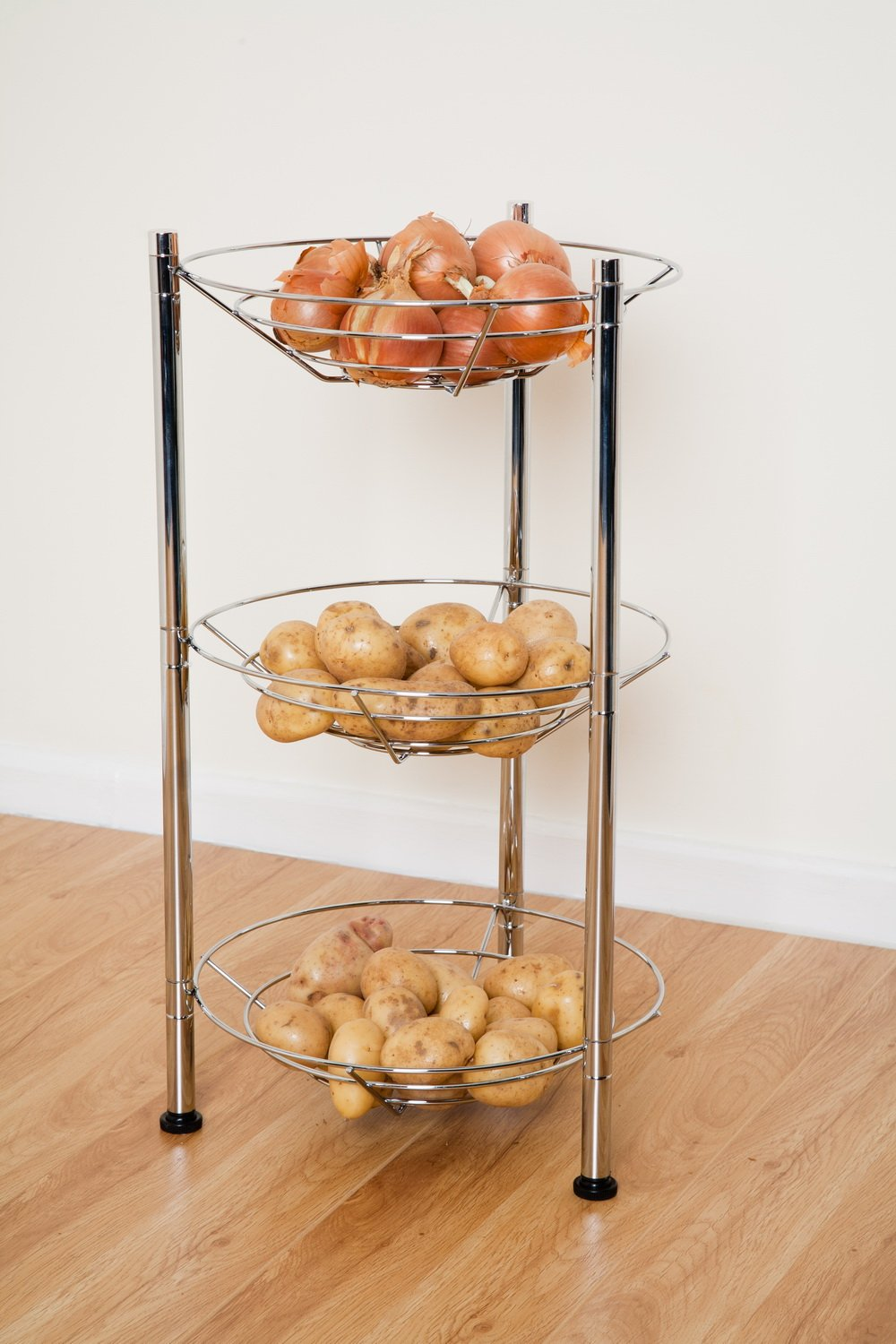 ASPECT Kitchen Storage 3 Tier Round Vegetable/Fruit Rack, Steel, Chrome, 34  X 34 X 61 Cm: Amazon.co.uk: Kitchen U0026 Home