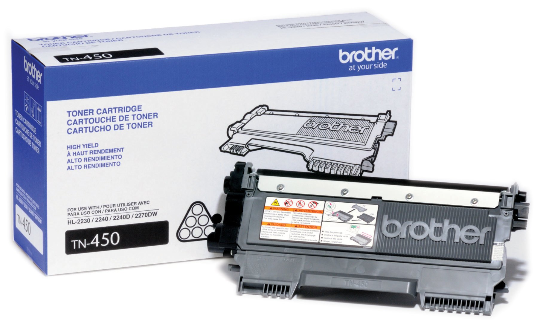 Brother Genuine High Yield Toner Cartridge, TN450, Replacement Black Toner, Page Yield Up To 2,600 Pages by Brother