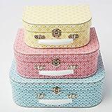 Sass & Belle - Set di 3 scatole portaoggetti, salvaspazio, forme geometriche, colore: blu, rosa, giallo