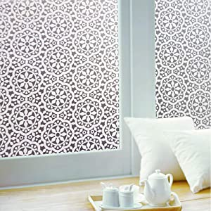 Jahoot Frosted Privacy Window Film, Glass Door Tint Non-Adhesive Static Clings for Home Office Decoration, Anti-UV, Heat Control and Prevent Bird Strikes (Snowflakes, 17.7x78.7 Inches)