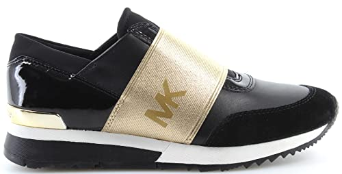 MICHAEL by Michael Kors Zapatos MK Zapatillas de Cuero Negro y Oro Mujer Black/Gold 40.5: Amazon.es: Zapatos y complementos