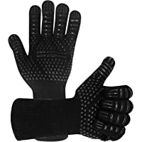 BBQ Gloves 800°C Heat Resistant Grill Gloves Fireproof Barbecue Grilling Potholders Silicone Non-Slip Oven Mitts for BBQ…