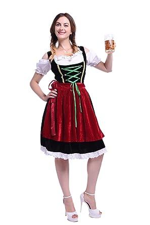 Womens Germany Oktoberfest Costume beer Waitress Plus Size Maid Fancy Dress a2a5b9151410