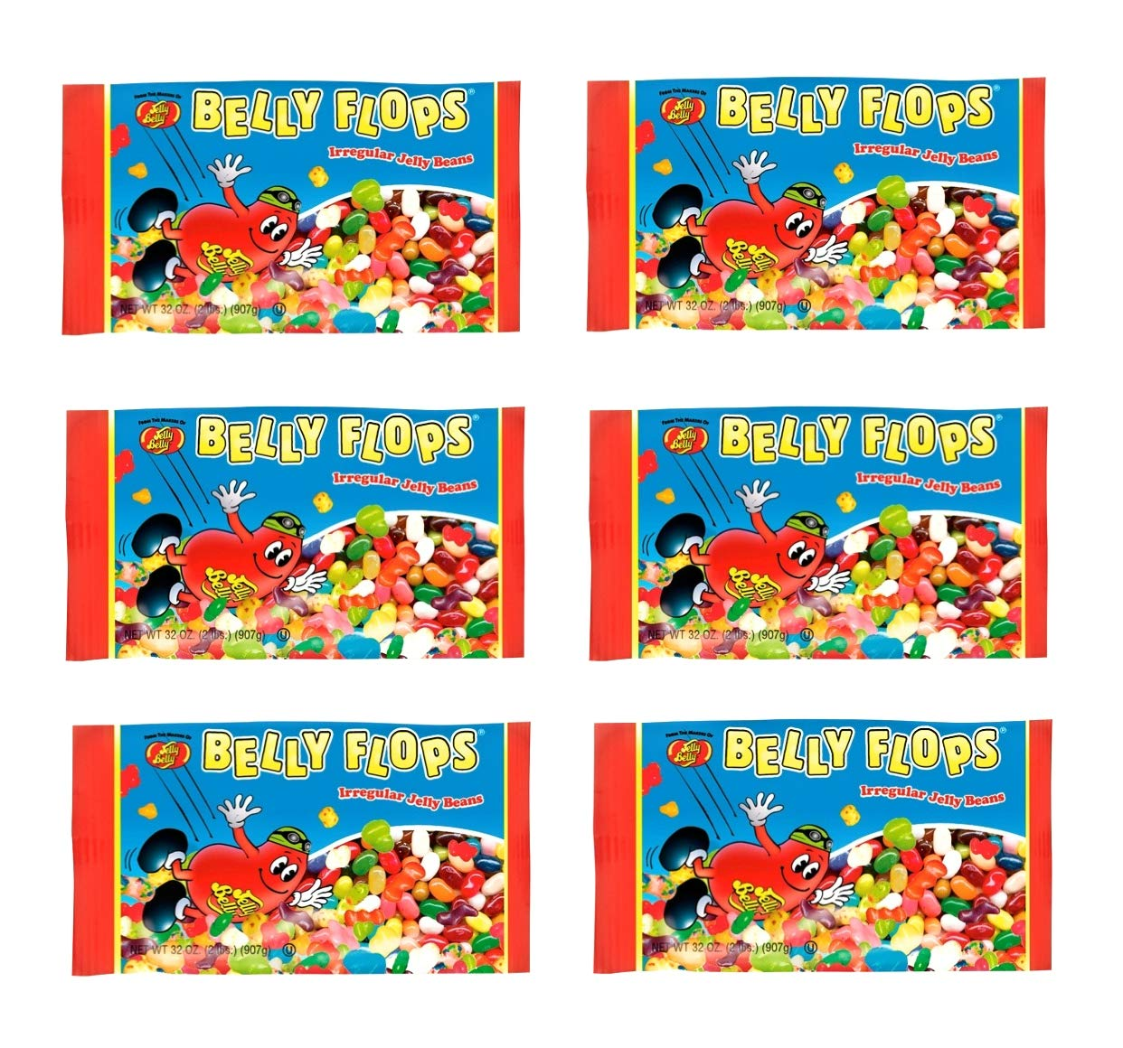 Jelly Belly, Belly Flops Jelly Beans - Pack of 6 Bags - 1 Pound per Bag