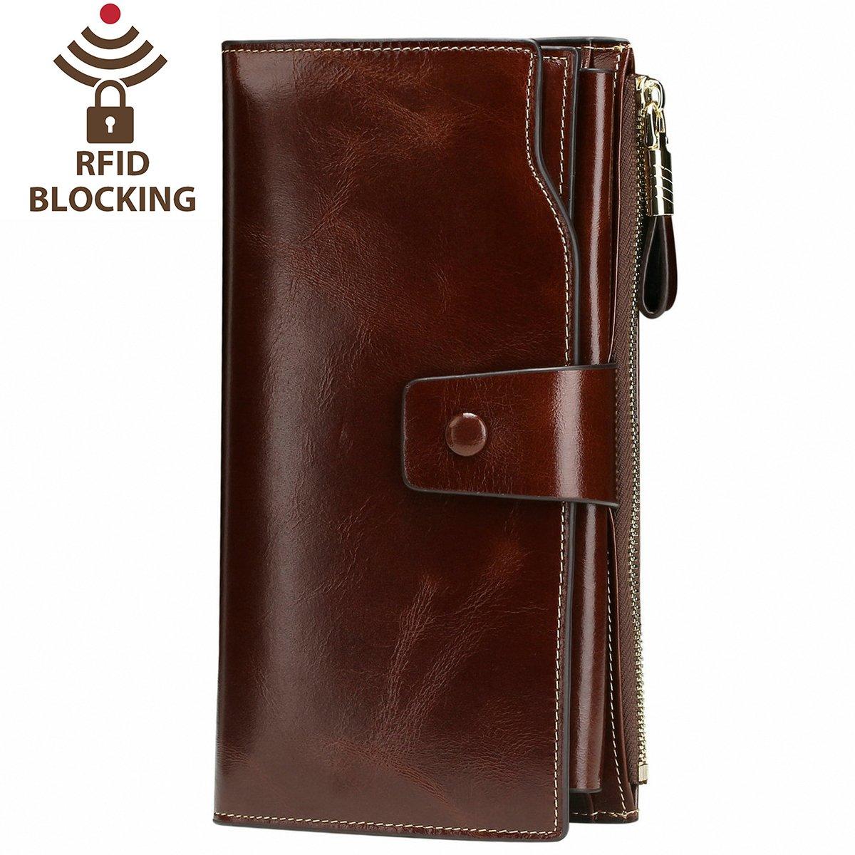 Itslife Women's RFID Blocking Large Capacity Luxury Wax Genuine Leather Cluth Wallet Ladies Card holder (Coffee RFID Blocking) by ITSLIFE
