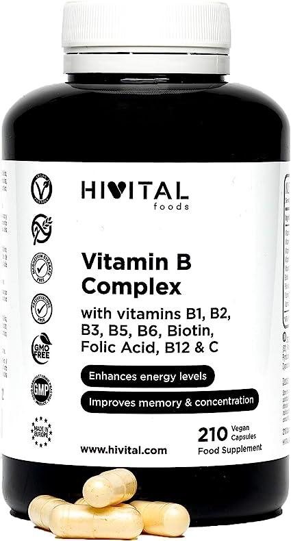 Vitamina B Complex | 210 cápsulas veganas para 7 meses | Complejo ...