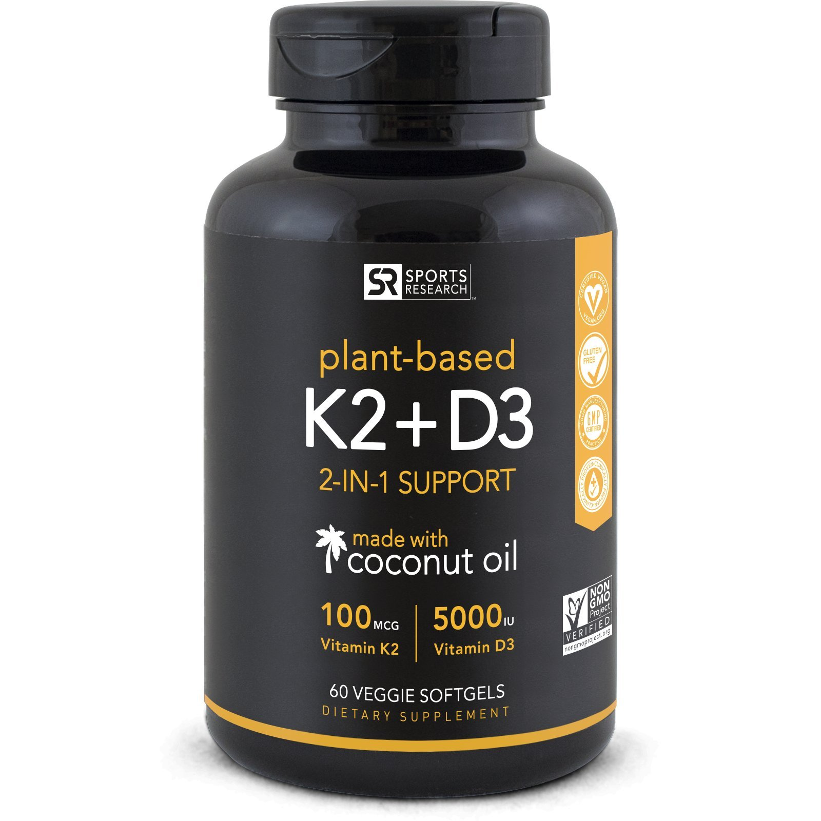 Vitamin K2 + D3 with Organic Coconut Oil for Better Absorption | 2-in-1 Support for Your Heart, Bones & Teeth | Vegan Certified, GMO & Gluten Free ~ 60 Veggie Gels by Sports Research (Image #1)
