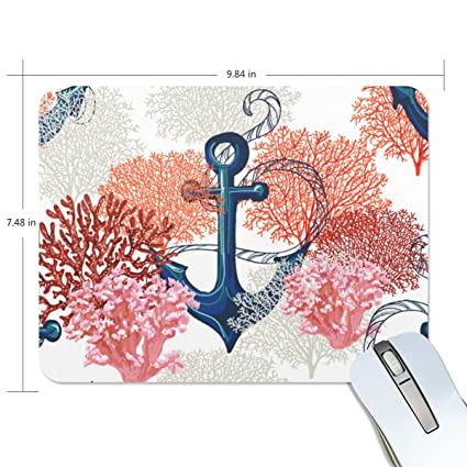 bff573f572a1a Amazon.com : U LIFE Ocean Sea World Anchor Aquatic Coral Mouse Mats Pads :  Office Products