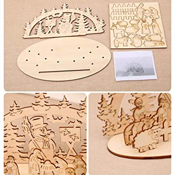 Christmas Wooden Puzzle 2 Set Xmas House Snowman Model Kit Assembly 3D Wooden Jigsaw Puzzle for Self-Assembly Toy Gift for Kids Teens and Adults,Wooden Christmas Decoration Woodcraft Construction Kit