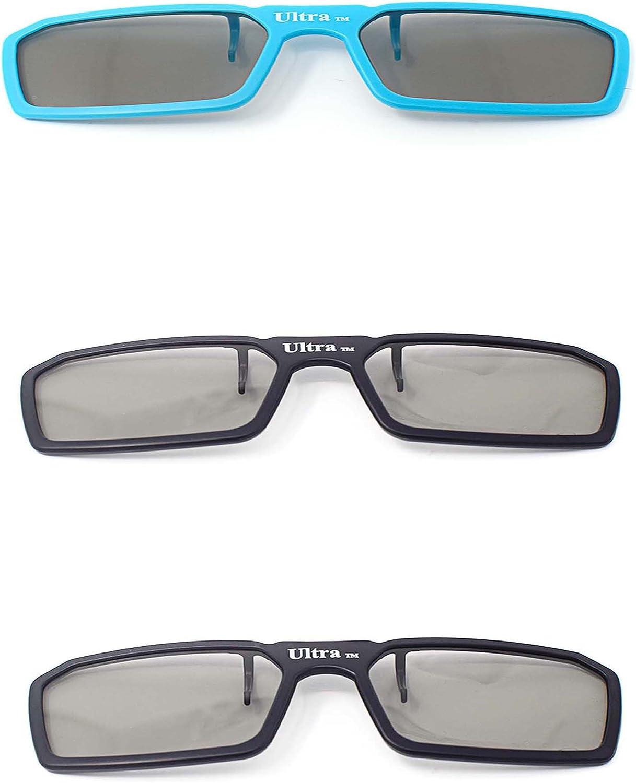 Ultra 3 x Clip Las Gafas 3D Pasivas 2 Negro 1 Azul para Hombres Mujeres Adecuado Graduadas Estilo de Polorizadas Circulares Todos Los Televisores Pasivos Cine como RealdD Toshiba LG: Amazon.es: Electrónica